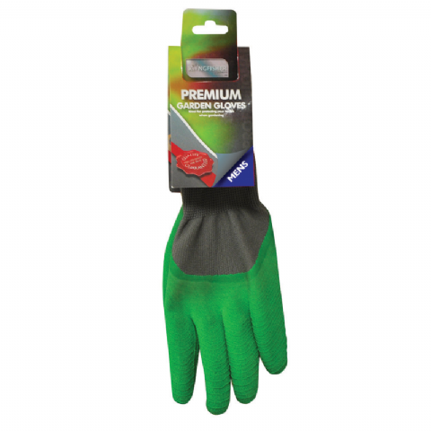 Mens Green Premium Garden Gloves - Kingfisher Gardening - Size Large